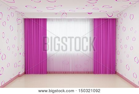 Empty room renovated for girls in pink. The interior has a plinth and curtains in pink. 3d illustration.