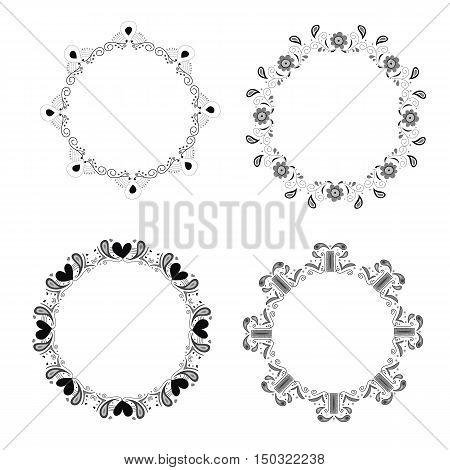 gray vintage circle frame vector round set