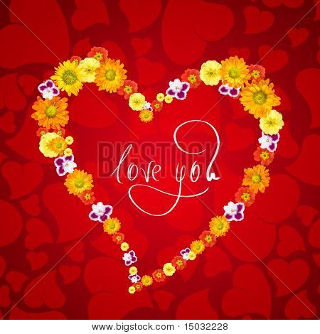 poster of I love you. Card for Valentines day with heart from flowers