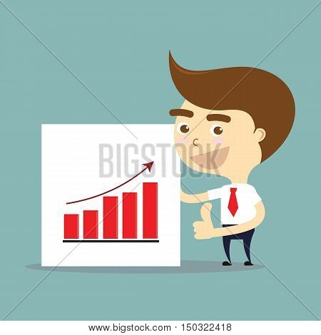businessman thumbs up with success of growing chart vector