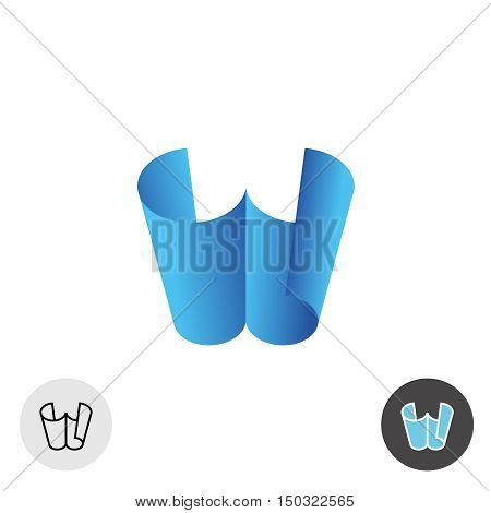 Letter W logo. Two paper sheets 3D perspective concept. Office education paper craft theme.