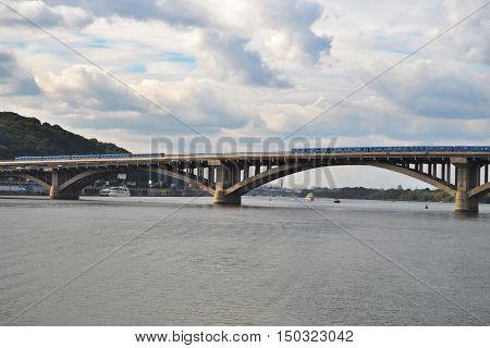 Aerial view of Metro bridge Pedestrian bridge . Kiev Ukraine .