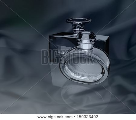 Perfume bottles on a dark gray background. 3D illustration