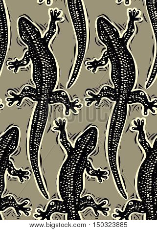 Vector reptilian seamless pattern lizards top view continuous background. Rain forest fauna