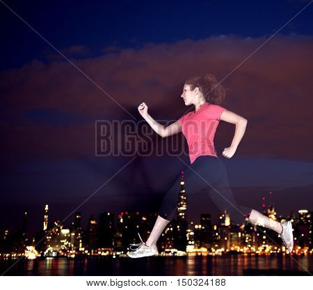 Running Rooftop Jumping High Exersice Concept