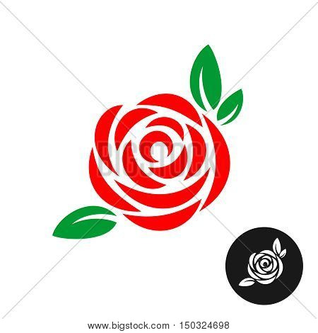 Rose red flower with green leaves logo. Rose color symbol.