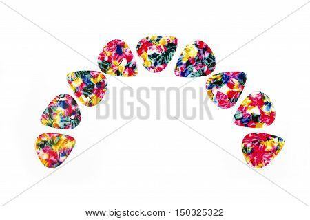 Guitar plectrums isolated on a white background