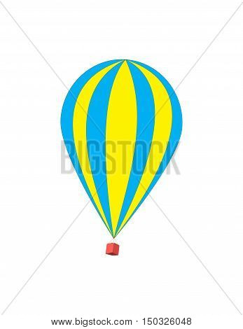 Vector illustration of a hot air balloon. Isolated on white background. Striped beautiful flying balloon.