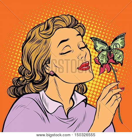 Woman and butterfly money, pop art retro vector illustration. Business and Finance. A great charity