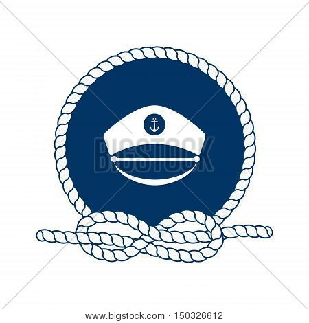 Nautical badge with captain hat. Captain hat icon. Round frame of rope. Sea nautical and travel badge. Icon and design element. Marine symbol. Vector illustration.