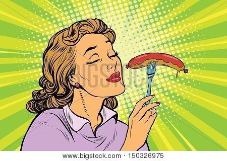 Young woman with tasty sausage, pop art retro vector illustration. Street fast food lunch