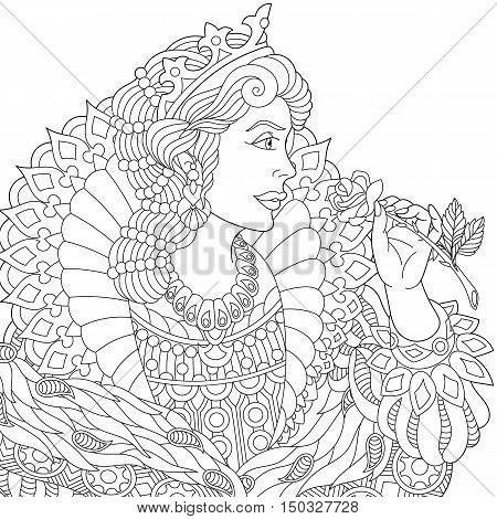 Stylized young beautiful queen (princess) in a crown is holding rose flower. Freehand sketch for adult anti stress coloring book page with doodle and zentangle elements.