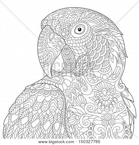 Stylized macaw (arara) parrot isolated on white background. Freehand sketch for adult anti stress coloring book page with doodle and zentangle elements.