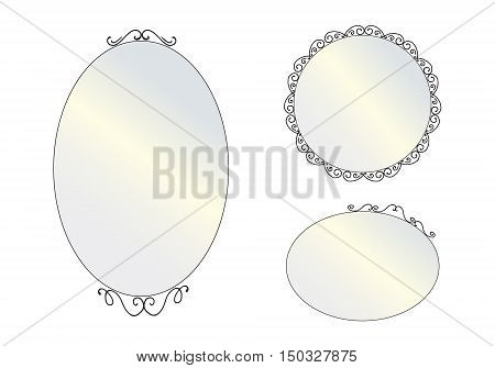Set of decorative vintage mirror. Isolated mirrors set on white background. Flat style vector illustration. Mirror frames.