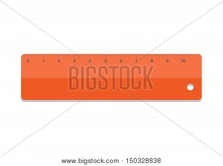 Ruler icon vector illustration. School icon symbol ruler education equipment. Orange ruler tool.
