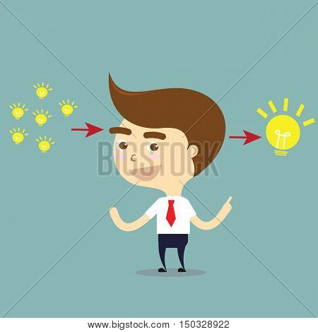 Businessman change little ideas to big one idea vector