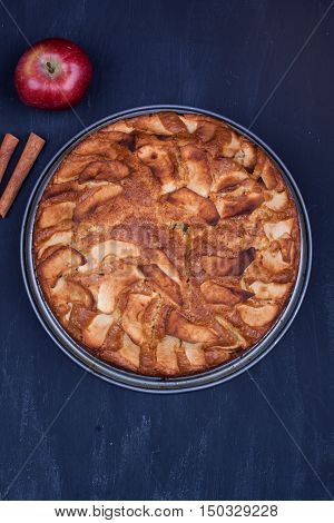 Homemade apple cake on a black wooden background