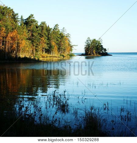 Sunrise At Ladoga Lake. Nature Of Russian North.