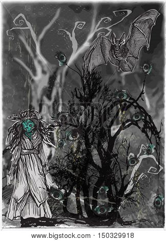 An hand drawn halloween vector magical and mystical illustration. Halloween bush forest - Crying eye tree and horror doll scary puppet. - Art project - blurred background -