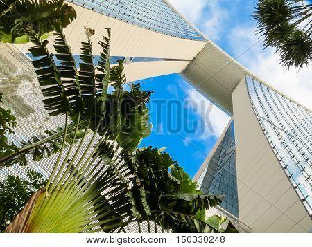 SINGAPORE, REPUBLIC OF SINGAPORE - JANUARY 09, 2014: Marina Bay Sands Singapore Hotel with Infinity Pool