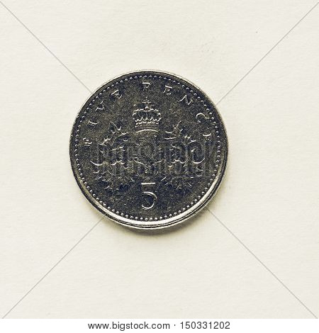 Vintage Uk 5 Pence Coin