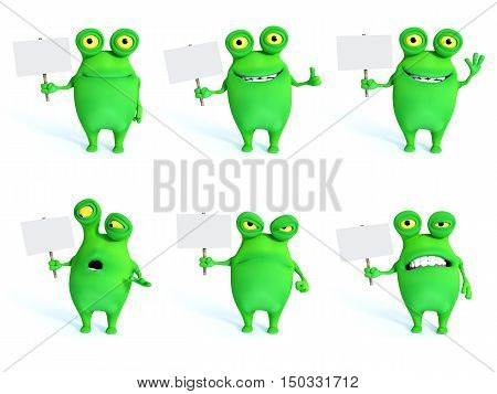 Collection of charming green monsters in different moods and poses holding blank signs 3D rendering. White background.