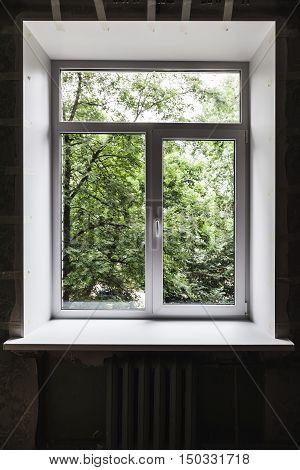 New Window Just After Installation In Dark Interior