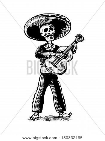 Day of the Dead Dia de los Muertos. The skeleton in the Mexican man national costumes sing and play the guitar. Vector hand drawn vintage engraving for poster label. Isolated on white background