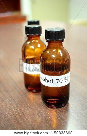 70% Ethyl alcohol in the light brown glass bottle