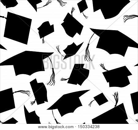 Black silhouette throwing graduation caps on white background. Seamless pattern. Vector illustration. Higher education celebration anniversary symbol pattern. flat design. Academic hat at the air.