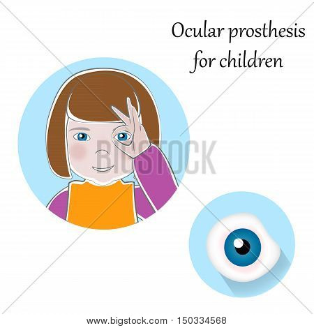 Pediatric Ocular Prostheses illustration. Prosthetic, artificial eyes for children. Pediatrics medicine, handicapped, social adaptation