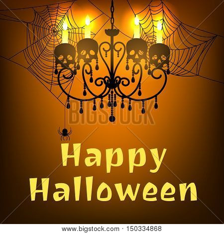Happy Halloween card with spider webs and chandelier with skulls and burning candles. Halloween background