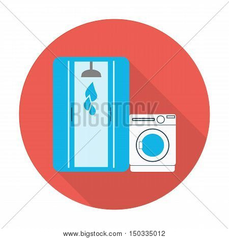 shower stall, washing machine flat icon with long shadow for web design