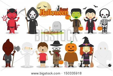 Set of Children´s Halloween characters Vector illustration