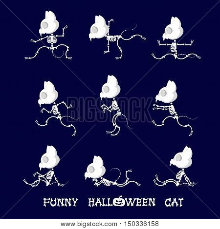 Set of cute and funny skeleton cat in different poses: activity dance yoga or gymnastic. Drawing in cartoon style isolated on dark blue background. Set of design elements. Vector illustration