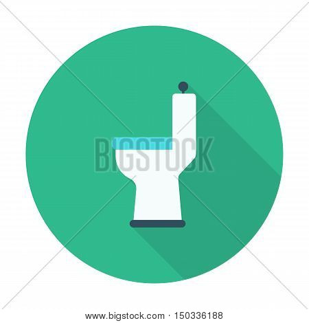toilet flat icon with long shadow for web design