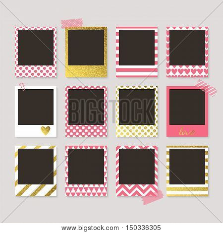 Realistic Vector Retro Photo Frames With Gold, Pink And White Patterns. Template Photo Design. Vecto