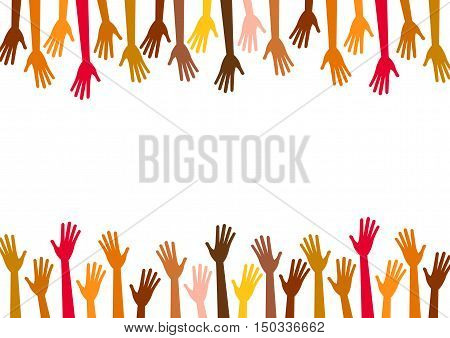 Diversity multicolored hands reach to the empty center. Vector background for text, copy space.