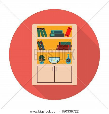 bookcase flat icon with long shadow for web design