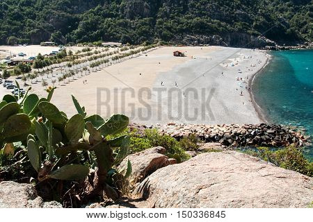 PORTO, CORSICA, FRANCE, AUGUST 28, 2016: View of the beach, west coast of Corsica