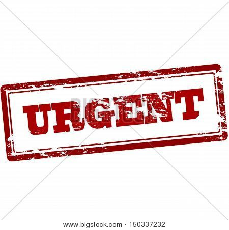 Rubber stamp with word urgent inside vector illustration