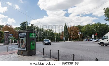Madrid - 7 October 2015: Crossroads of the street Marques de Urquijo and alleys Pintor Rosales in Madrid October 7 2015 Madrid Spain