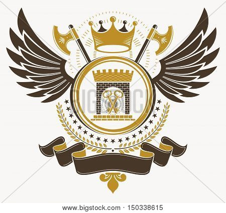 Heraldic vector vintage emblem decorated with different art elements like crown and laurel leaf