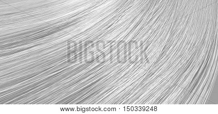 A 3D render of a closeup view of a bunch of shiny straight grey hair in a wavy curved style