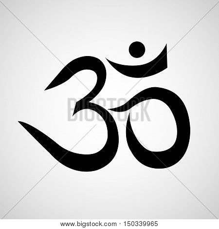Om or Aum sign isolated on white background. Symbol of Buddhism and Hinduism religions icon poster