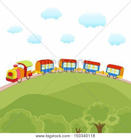 cute cartoon train over a hill vector illustration