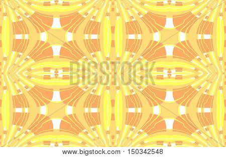 Abstract geometric seamless background. Regular ellipses ornaments in white, lemon yellow and orange shades.