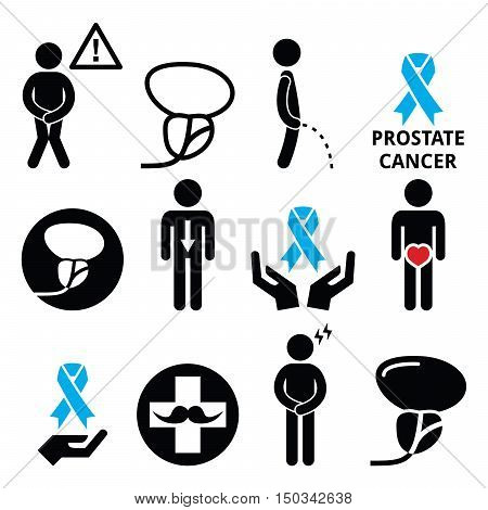 Prostate cancer awareness, men's health icons set