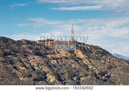 Los Angeles, USA - 6 July, 2014: View over the Hollywood Hills towards the Hollwood sign