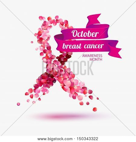 October - breast cancer awareness month. Pink rose petals ribbon